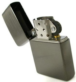 Typical Zippo type lighter. Iconic.