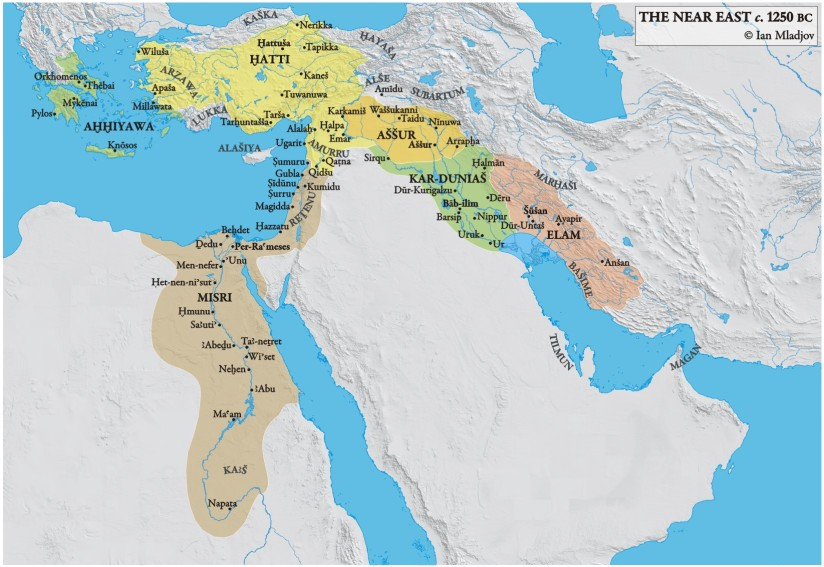 Map of the near east Bronze age civilizations  just 50 years before collapse. This region was the Centre of power for north Africa, the near east and much of Europe.